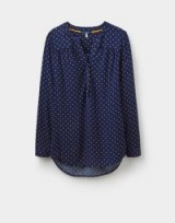 JOULES JOSS PRINTED POP OVER TOP / navy spotty tops