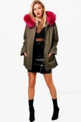 boohoo Kerry Parka With Pink Faux Fur Hood ~ khaki green jackets