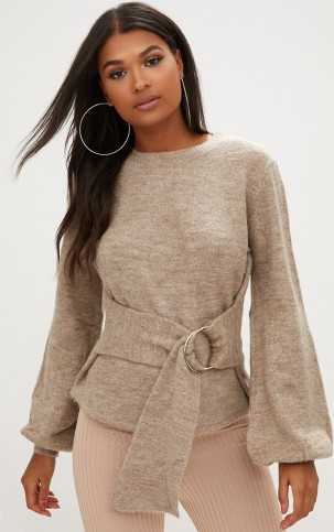 PRETTYLITTLETHING STONE STATEMENT BELT TIE JUMPER – waist tie balloon sleeve jumpers – chic knitwear