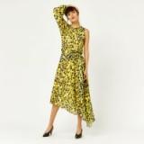 WAREHOUSR KYOTO FLORAL ONE SLEEVE DRESS / yellow asymmetric hemline dresses