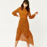 WAREHOUSE KYOTO FLORAL SILK MIDI DRESS / orange tiered hem dresses