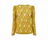 OASIS LACE PUFF SLEEVE TEE ~ sheer floral tops ~ ochre/yellow