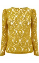 OASIS LACE PUFF SLEEVE TEE / ochre-yellow floral lace tops
