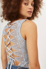 Topshop Lace Up Trim Back Bodysuit ~ pale blue bodysuits