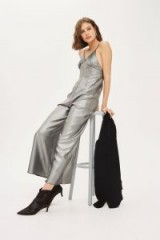 Topshop Lame Strappy Jumpsuit | metallic-silver jumpsuits