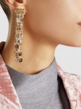 ‎LANVIN‎ Crystal-Embellished Gold-Plated Earrings ~ statement jewellery ~ long column evening earrings