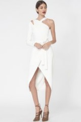 Lavish Alice Asymmetric Shoulder Cutout Dress in Off White – statement eveningwear – evening dresses