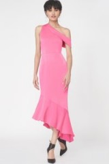 Lavish Alice One Shoulder Asymmetric Hem Dress in Fuchsia Pink Satin – style statement – evening fashion