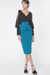Lavish Alice Corset Panel Midi Skirt in Teal – blue front lace up pencil skirts