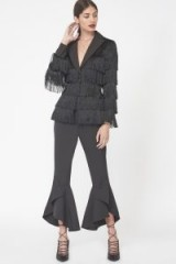 Lavish Alice Tailored Fringed Blazer in Black – dressy evening jackets