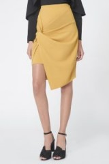 Lavish Alice Twist Front Mini Skirt in Olive Yellow – chic asymmetric skirts