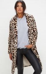 PRETTYLITTLETHING LEOPARD PRINT LONGLINE FAUX FUR COAT – glamorous animal print coats