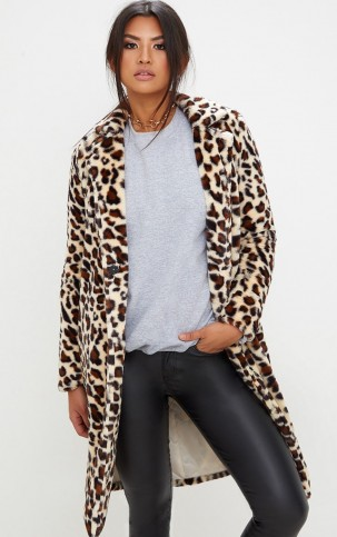98132cc51346 PRETTYLITTLETHING LEOPARD PRINT LONGLINE FAUX FUR COAT – glamorous animal  print coats