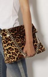 KAREN MILLEN LEOPARD PRINT REGENT BAG / glamorous chain strap bags