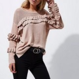 River Island Light pink knit frill front jumper ~ ruffle jumpers