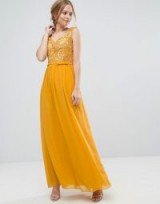 Little Mistress Allover Lace Applique Top Maxi Dress ~ Ochre-yellow occasion dresses