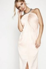 LITTLE MISTRESS NUDE DRAPED FRONT MAXI DRESS – long going out dresses