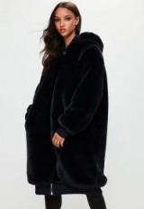londunn + missguided navy longline hooded fur bomber jacket