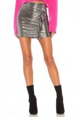 Lovers + Friends X REVOLVE LISA SKIRT – ruffled metallic-silver mini skirts