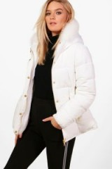 boohoo Lucy Fitted Padded Jacket With Faux Fur Hood ~ white winter jackets