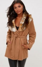 PRETTYLITTLETHING LYDIA CAMEL FAUX FUR TRIMMED BELTED COAT – wrap style winter coats