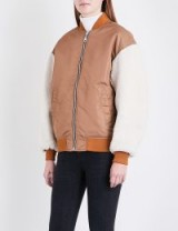 Maje x Schott Boston shell and shearling bomber jacket | caramel-brown jackets