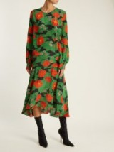 Louise Redknapp green and red floral dropped waist dress, PREEN BY THORNTON BREGAZZI Marla poppy-print silk crepe de Chine dress, appearing on the 'This Morning' show, 29 September 2017.
