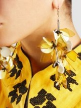 MARNI‎ Silver-Tone Resin Earrings ~ yellow floral statement jewellery