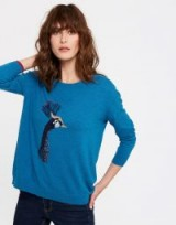 JOULES MERYL LUXE DROPPED SHOULDER INTARSIA JUMPER / teal-blue peacock print jumpers