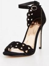 Michelle Keegan Laser Cut Heeled Sandal Black – black cut-out ankle strap sandals