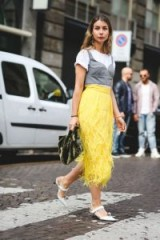 Yellow feathered skirt, steel-grey bralet over white tee and pointy toe slingbacks – street style at Milan fashion week S/S 2018