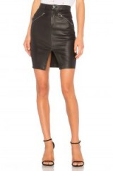 MLML MID RISE FRONT ZIPPER SKIRT – black leather front slit pencil skirts