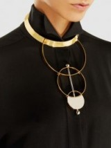 MONICA SORDO‎ Silencio Gold And Silver-Tone Necklace ~ modern statement necklaces