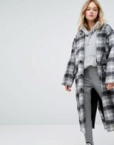Monki Check Oversized Over Coat ~ long checked coats