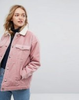 Monki Shearling Cord Jacket ~ pink corduroy jackets