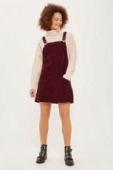 TOPSHOP MOTO Cord Pocket Pinafore Dress – burgundy red corduroy pinafores