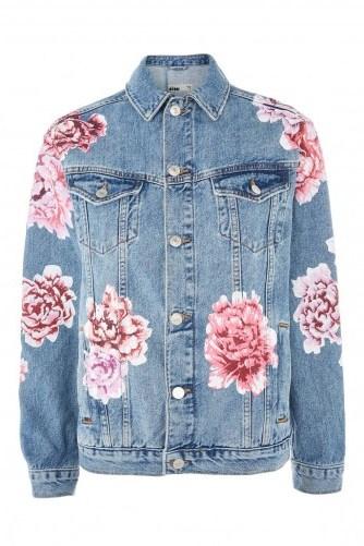MOTO Peony Painted Denim Jacket / floral blue denim jackets - flipped