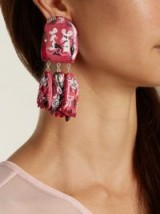 CLAIRE BARROW Mouse Face triple-drop clip-on earrings ~ pink statement jewellery