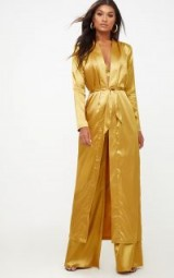 PRETTY LITTLE THING MUSTARD SATIN DUSTER – long silky yellow coats