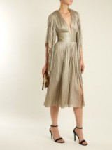 MARIA LUCIA HOHAN Nadina pleated tulle midi dress ~ metallic-silver evening dresses ~ deep plunge occasion wear