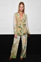 Nadine Leopold dressed in a silky floral trouser suit at the NYFW Kickoff Party – stylish looks
