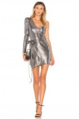NBD X REVOLVE AOKI DRESS – one shoulder mini dresses – metallic-silver party fashion