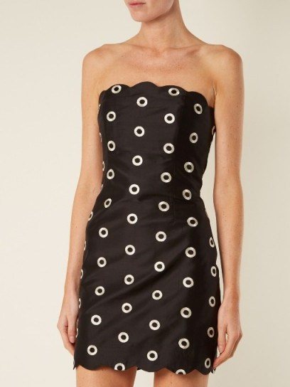 OSMAN Nesha circle-embroidered strapless dress ~ black silk party dresses ~ lbd - flipped