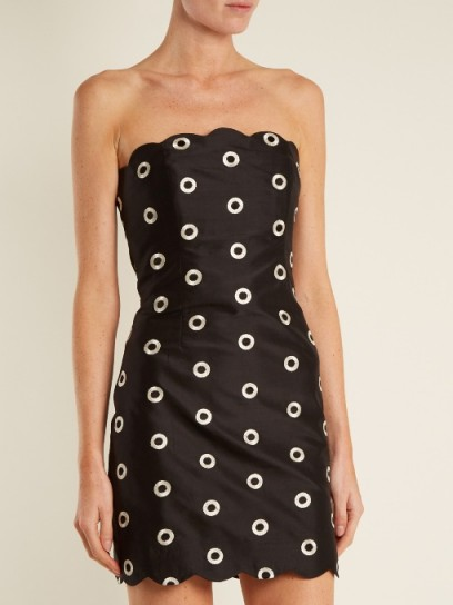 OSMAN Nesha circle-embroidered strapless dress ~ black silk party dresses ~ lbd