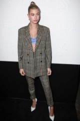Hailey Baldwin check print trouser suit / stylish outfits