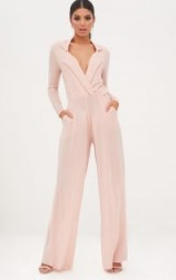 PRETTY LITTLE THING NUDE LUREX PLUNGE JUMPSUIT – going out fashion – evening wide leg jumpsuits