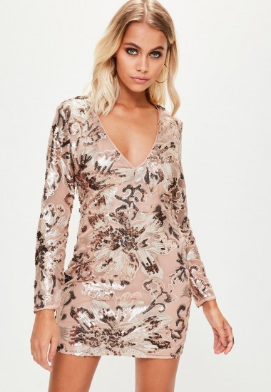 missguided nude sequin long sleeve bodycon dress / shiny going out dresses