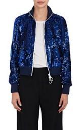 OFF-WHITE C/O VIRGIL ABLOH Logo Sequin-Embellished Bomber Jacket | blue sequinned jackets
