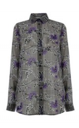 WAREHOUSE ORIENTAL ROSE BLOUSE ~ grey floral blouses