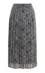 WAREHOUSE ORIENTAL ROSE PLEATED SKIRT ~ grey floral midi skirts